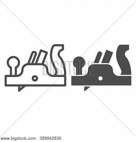 Jointer Plane Line And Solid Icon, House Repair Concept, Retro Jack-plane Sign On White Background,