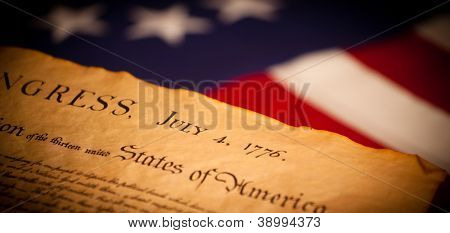 United States Declaration of Independence on a Betsy Ross flag background