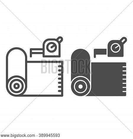 Roll Of Linoleum And Meter Line And Solid Icon, House Repair Concept, Roulette Measure Sign On White