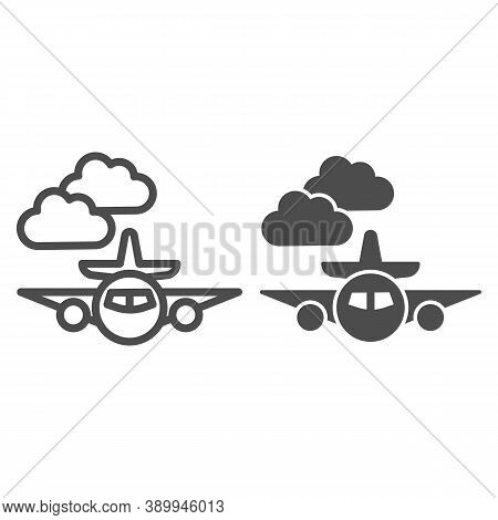 Plane Line And Solid Icon, Public Transport Concept, Plane In The Clouds Sign On White Background, A