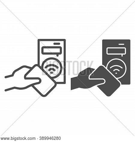 Ticket Terminal For Wireless Payments Line And Solid Icon, Transport Concept, Terminal And Passenger
