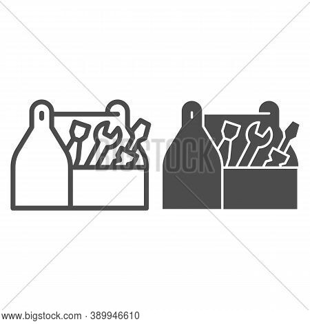 Tool Box Line And Solid Icon, House Repair Concept, Wooden Toolbox Sign On White Background, Toolbox