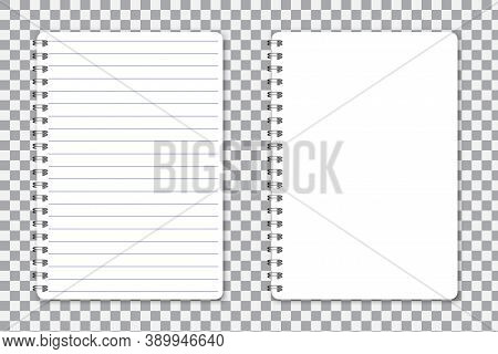 Spiral Notebook. Book For Notes Blank Sheet. Notepad With Lines. White Blank Notebook. Vector Illust