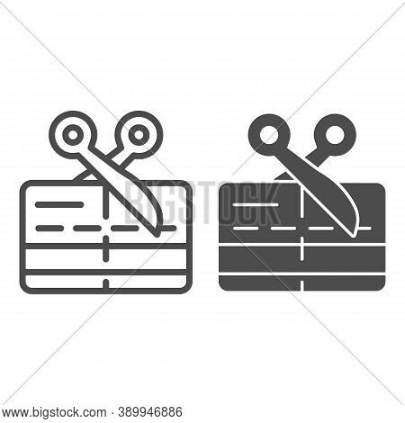 Scissors And Credit Card Line And Solid Icon, Payment Problem Concept, Card Declined Sign On White B