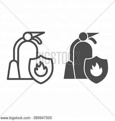 Fire Extinguisher With Shield Line And Solid Icon, Public Transport Concept, Firefighter Sign On Whi
