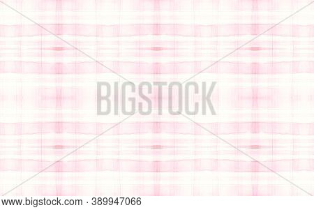 Pink Pajama Pattern. Retro Seamless Plaid Repeat. Watercolor Squares For Cloth Design. Pastel Girly