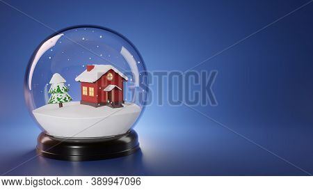 Snow Globe With Red House, Christmas Tree And Falling Snow Inside. Christmas Or New Year Template Wi