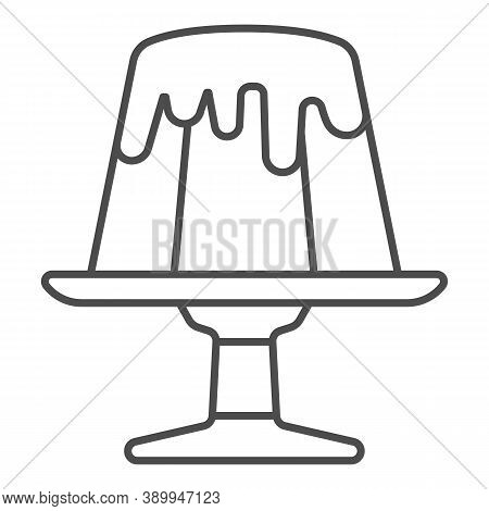 Chocolate Pudding Thin Line Icon, Chocolate Festival Concept, Birthday Cake Sign On White Background