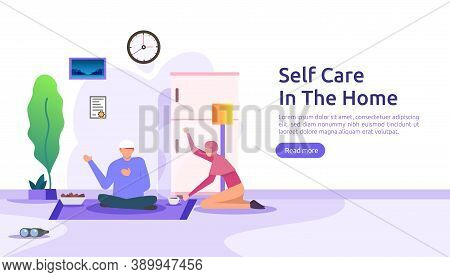Self Care And Stay Home Concept. Self Isolation, Home Activities, Quarantine Due To Coronavirus Illu