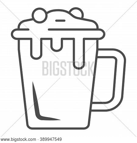 Hot Chocolate In Mug Thin Line Icon, Chocolate Festival Concept, Hot Chocolate Sign On White Backgro