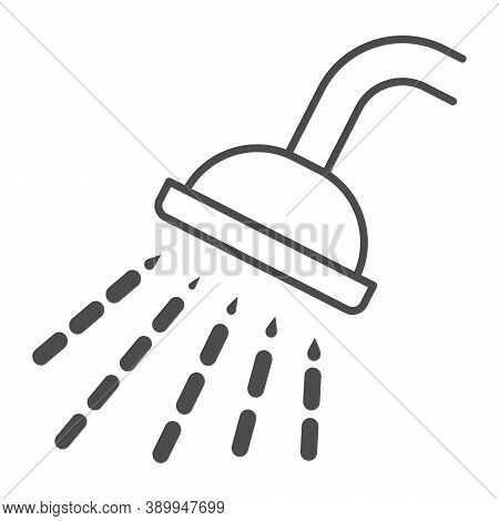 Shower Thin Line Icon, Gym Concept, Douche With Water Drops Sign On White Background, Shower Spray I