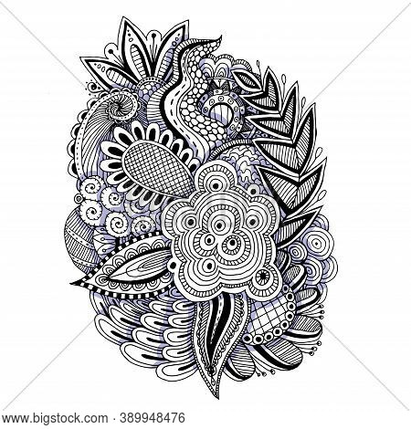 Abstract Floral Elements In Indian Mehndi Style. Abstract Henna Floral Vector Illustration.