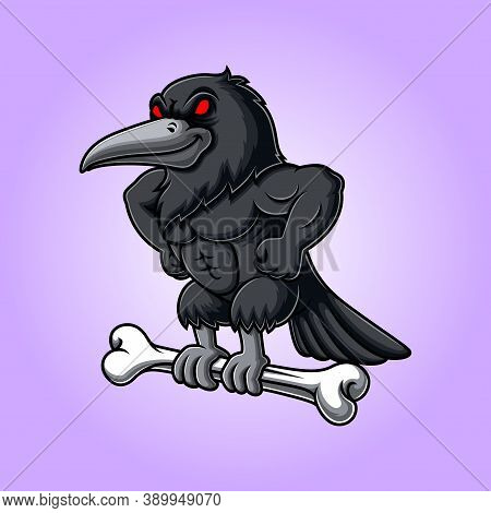 Angry A Crow Carrying Bone Of Illustration