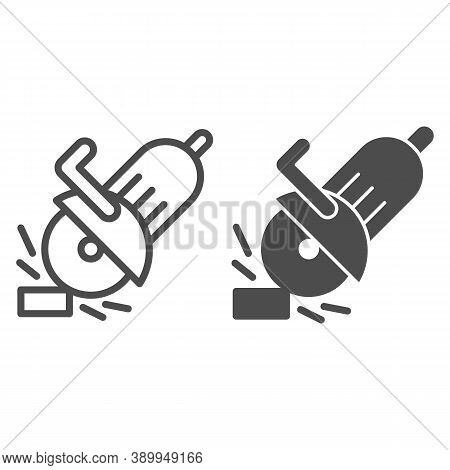 Electric Saw Line And Solid Icon, House Repair Concept, Saw Sign On White Background, Circular Saw I