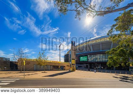 Adelaide, Australia - August 4, 2019: Adelaide Oval South Gate Viewed Across War Memorial Drive  On