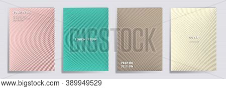 Semicircle Lines Halftone Covers Vector Collection. Creative Brochure Title Page Layouts. Notepad, M