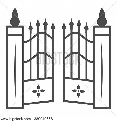 Gate To Cemetery Thin Line Icon, Halloween Concept, Cemetery Sign On White Background, Graveyard Fen