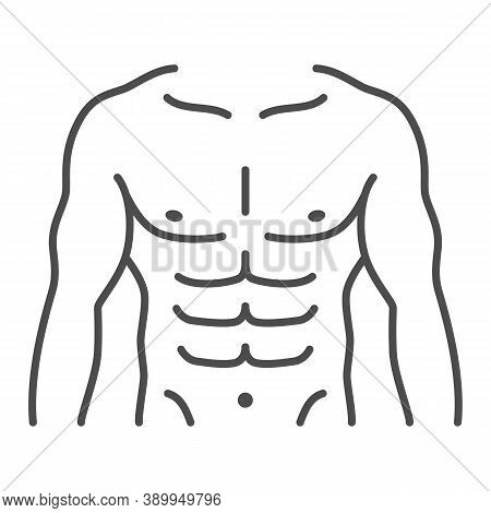 Male Strong Torso Thin Line Icon, Gym Concept, Men Chest Sign On White Background, Muscular Strong M