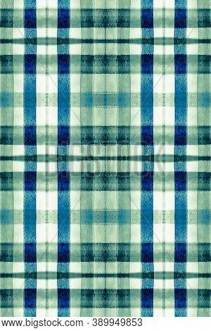 Watercolour Scottish Print. Blue Plaid Material. Seamless English Shirt Design. Buffalo Ornament. Ma