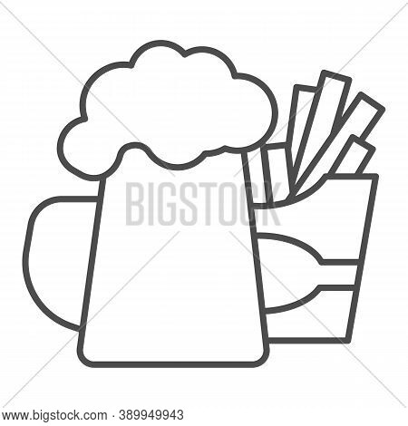 Fried Potatoes And Mug Of Beer Thin Line Icon, Craft Beer Concept, Fast Food Sign On White Backgroun