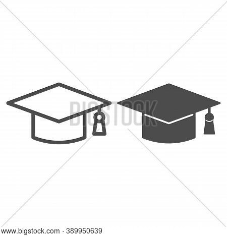 Academic Cap Line And Solid Icon, Education Concept, Student Graduation Hat Sign On White Background