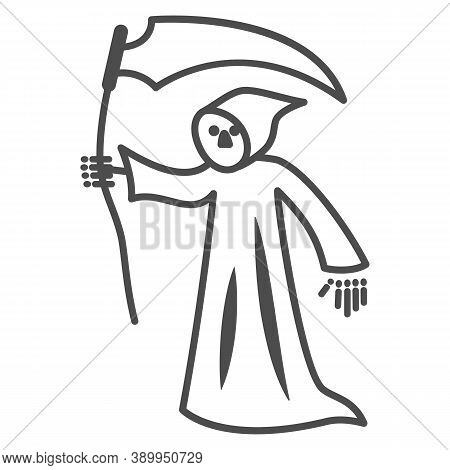Grim Reaper Thin Line Icon, Halloween Concept, Death With Scytheman Sign On White Background, Grim R