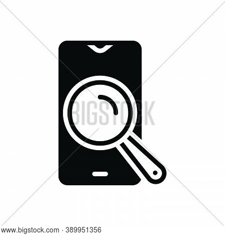 Black Solid Icon For Search Quest Find Phone Discovery Glass Magnifying Optical Research