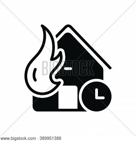 Black Solid Icon For Whenever At-any-time Any-time House Fire Disaster Mishap