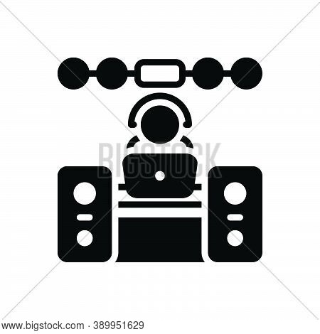Black Solid Icon For Operator Sound-system Music Dj Concert Manipulator Keeper Support People Helpde