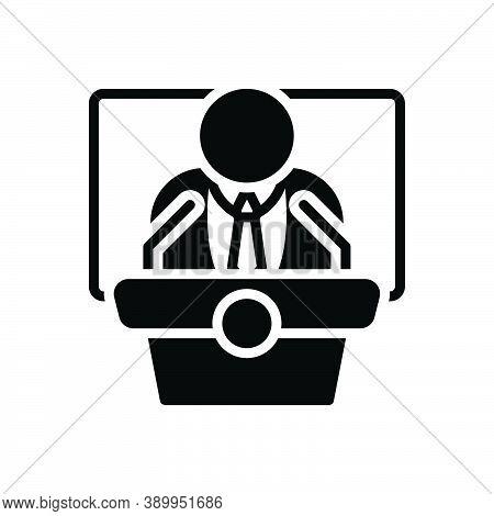 Black Solid Icon For Democrat Political Patriotism Governor Chief President Leader Republican