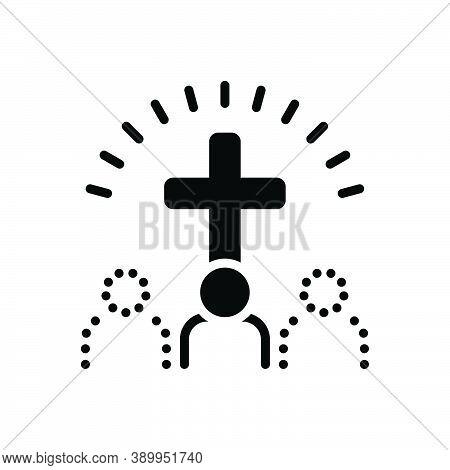 Black Solid Icon For Belief Faith Trust Cross Worship Homage Mythology Bible Catholic Church Religio