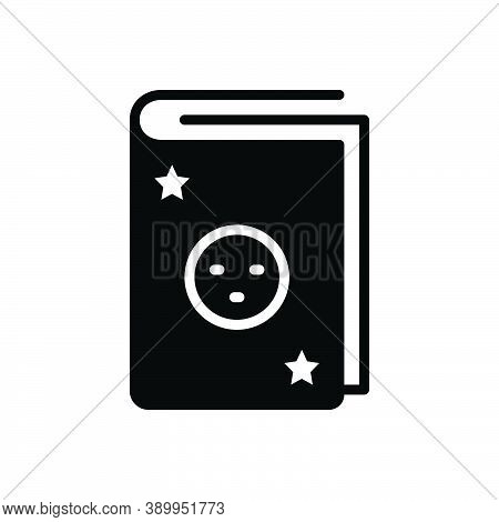 Black Solid Icon For Fiction Novel Myth Legend Book Knowledge Dictionary Encyclopedia