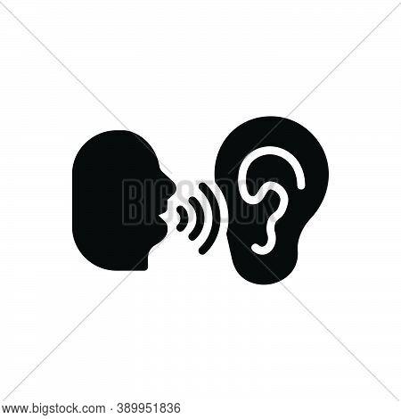 Black Solid Icon For Whisper Murmur Mutter Mumble Speak-softly Buzz Secret Listen Ear Talk