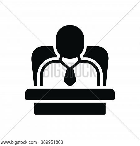 Black Solid Icon For Ceo Administrator Executive Business Corporate Boss Leader Professional Staff M