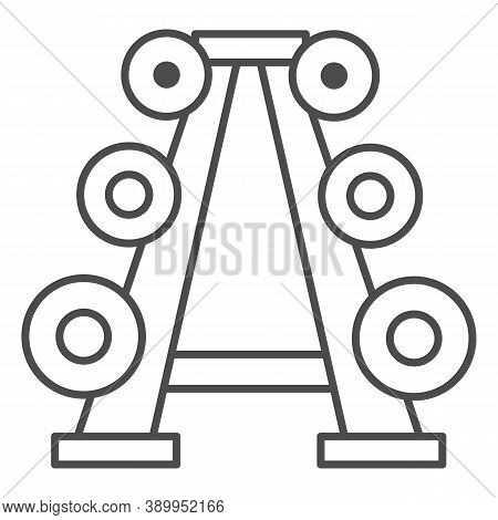 Stand With Dumbbells Thin Line Icon, Gym Concept, Gym Equipment Sign On White Background, Barbell St