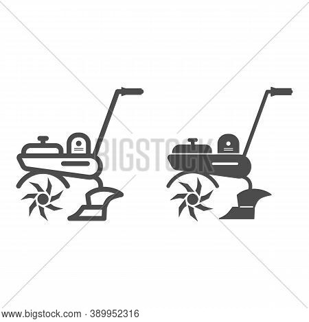 Cultivator Line And Solid Icon, Garden And Gardening Concept, Garden Tools Sign On White Background,