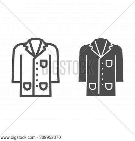 Medical Gown Line And Solid Icon, Science And Medicine Concept, Laboratory Uniform Sign On White Bac