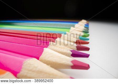 Row Of Colour Pencils, Shot With Macro Probe Lens