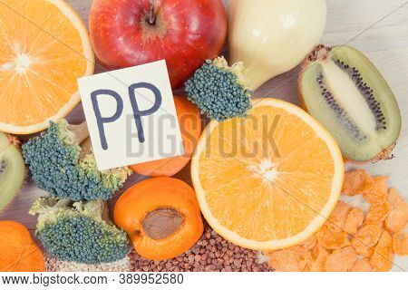 Nutritious Products Containing Vitamin Pp And Other Natural Minerals, Healthy Lifestyle And Eating C