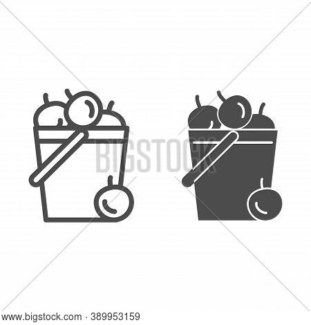 Bucket Of Apples Line And Solid Icon, Garden And Gardening Concept, Harvest Sign On White Background