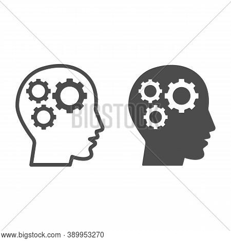 Gears In Head Line And Solid Icon, Idea And Innovation Concept, Human Mind And Three Cogs Sign On Wh