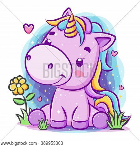 Cute Smiley Unicorn Play Around The Garden