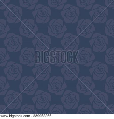 Vector Navy Blue Floral Seamless Pattern Textured Background. Repetitive Roses Arranged In A Geometr