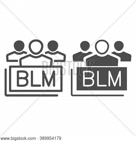 Group Of People With Blm Text Line And Solid Icon, Black Lives Matter Concept, Group Of Multiethnic