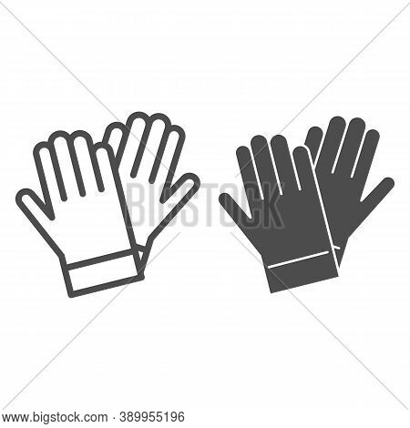 Gardener Gloves Line And Solid Icon, Garden And Gardening Concept, Rubber Glove Sign On White Backgr