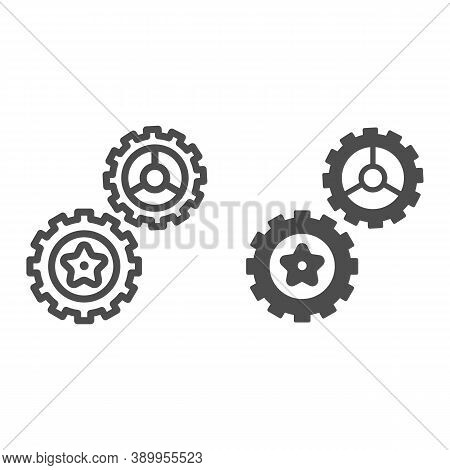 Rotating Gears Line And Solid Icon, Technology Concept, Cogwheel Gear Mechanism Sign On White Backgr