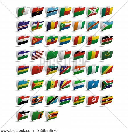 Set Of Folder Icons With Flags Of Africa. 10 Eps.