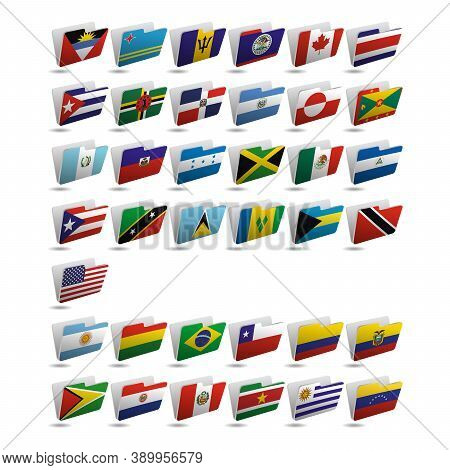 Set Of Folder Icons With Flags Of North And South America. 10 Eps.