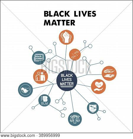 Modern Black Lives Matter Infographic Design Template With Icons. Blm Infographic Visualization In B