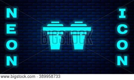 Glowing Neon Water Filter Icon Isolated On Brick Wall Background. System For Filtration Of Water. Re